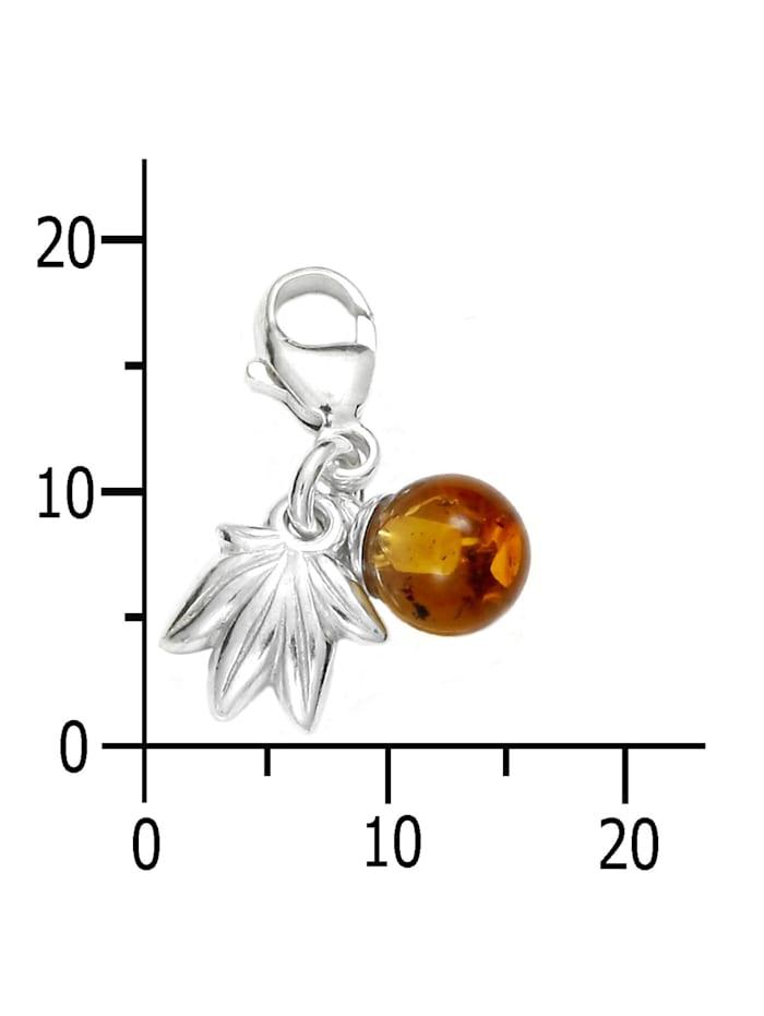 Charm-Einhänger - Frucht - Silber 925/000 - Bernstein