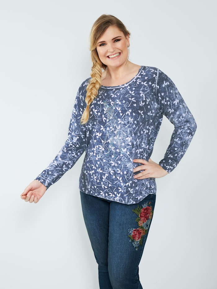 Sara Lindholm Pullover aus reiner Baumwolle, Blau