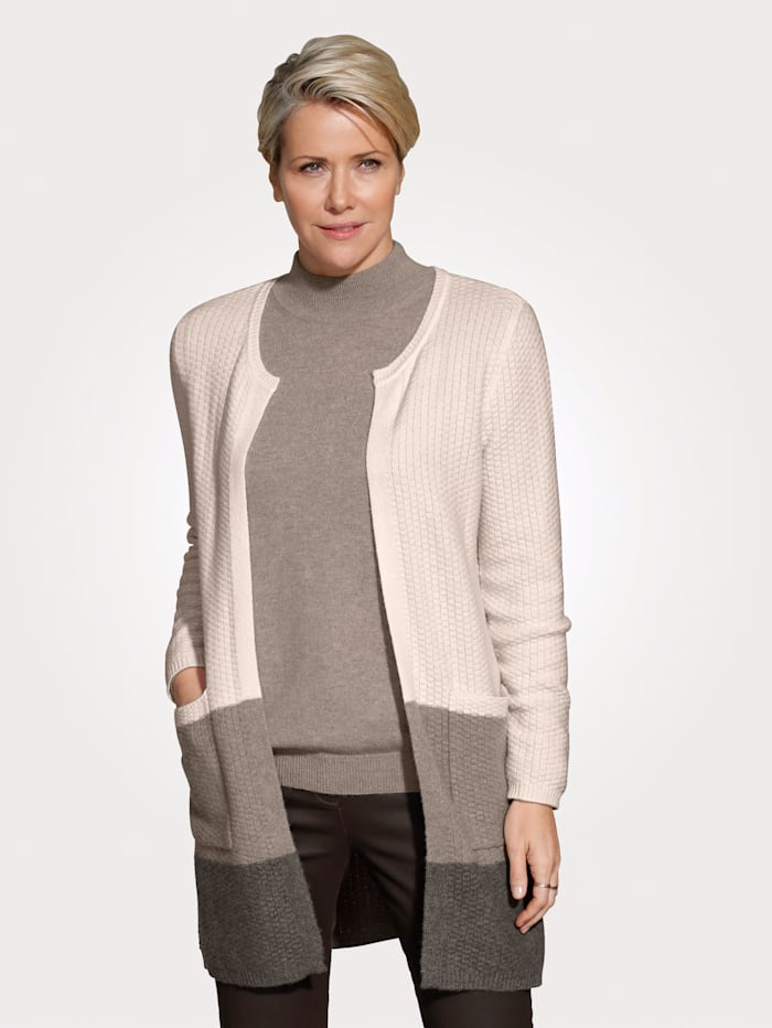 MONA Cardigan made from pure cashmere, Ivory/Light Brown/Brown