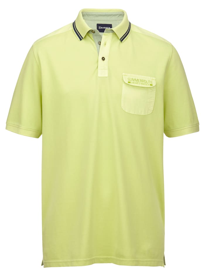 BABISTA Poloskjorte i garment dyed-materiale, Lime