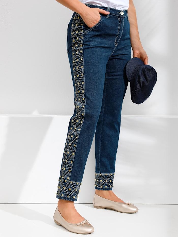 MIAMODA Jeans med generöst mycket pärlbroderi, Blue stone