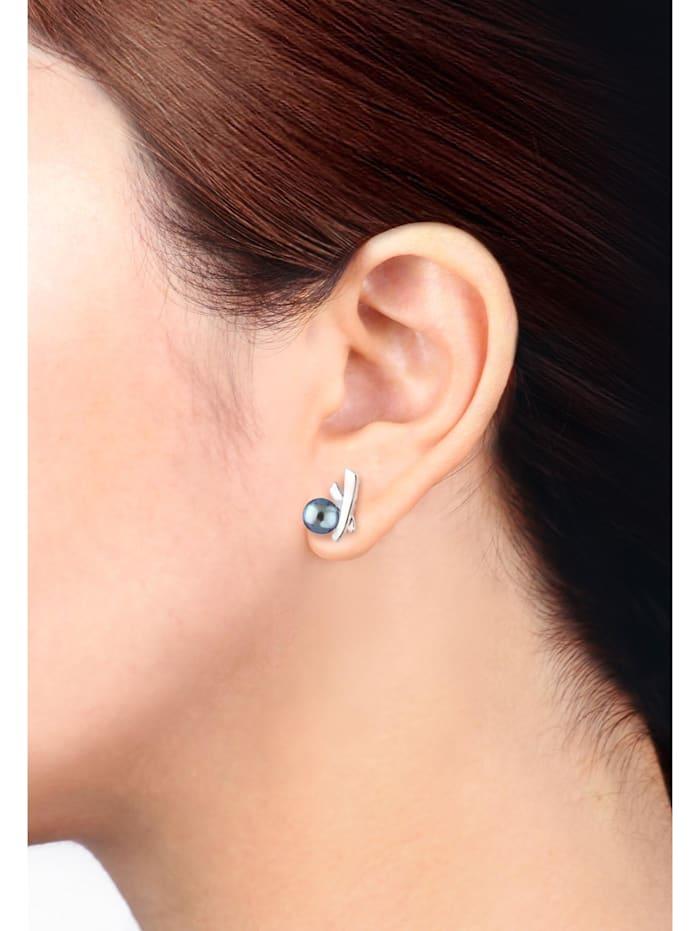 Ohrringe Kreuz Süßwasserzuchtperlen Elegant Stilvoll Silber