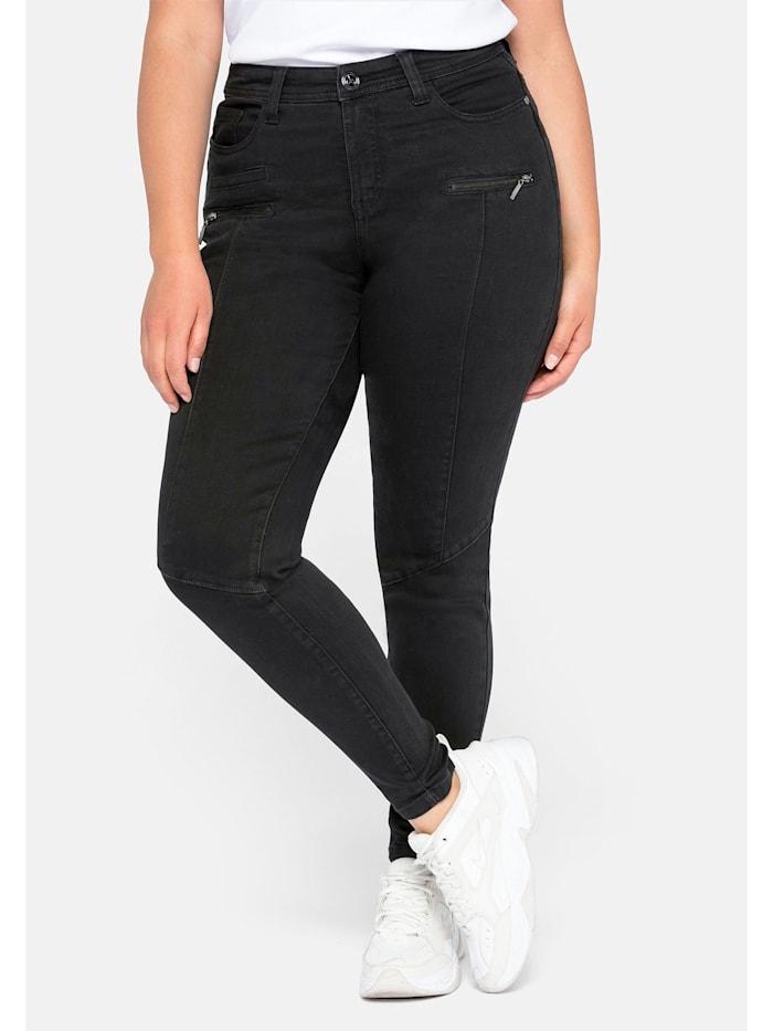 Sheego Jeans Skinny  mit Teilungsnähte, black Denim