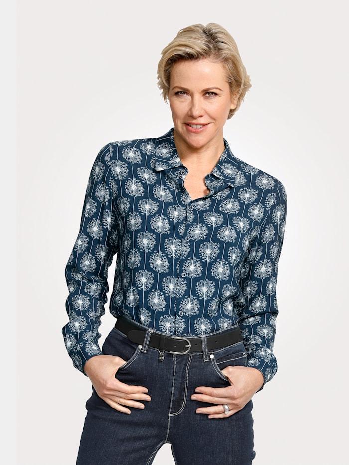 MONA Bluse aus reiner Viskose, Blau/Weiß