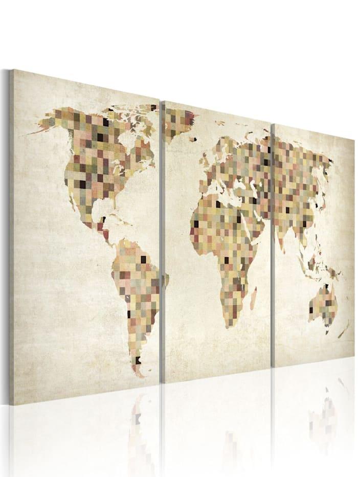 artgeist Wandbild Weltkarte - Quadrate, Creme