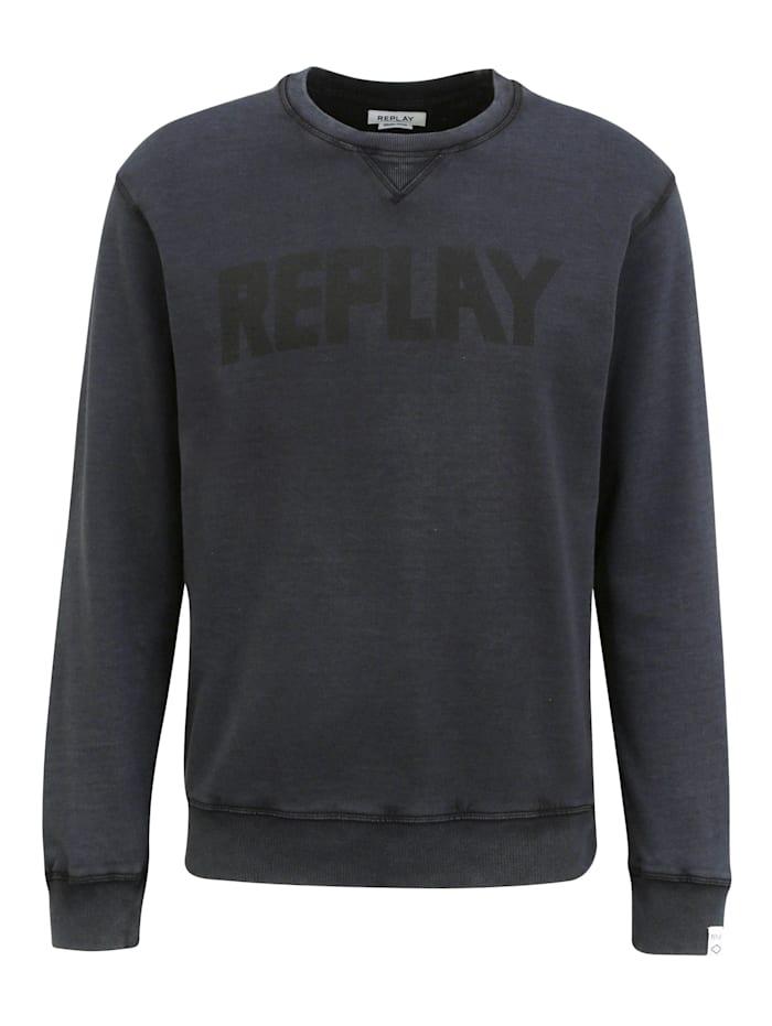 REPLAY Sweatshirt mit Label-Print, blackboard