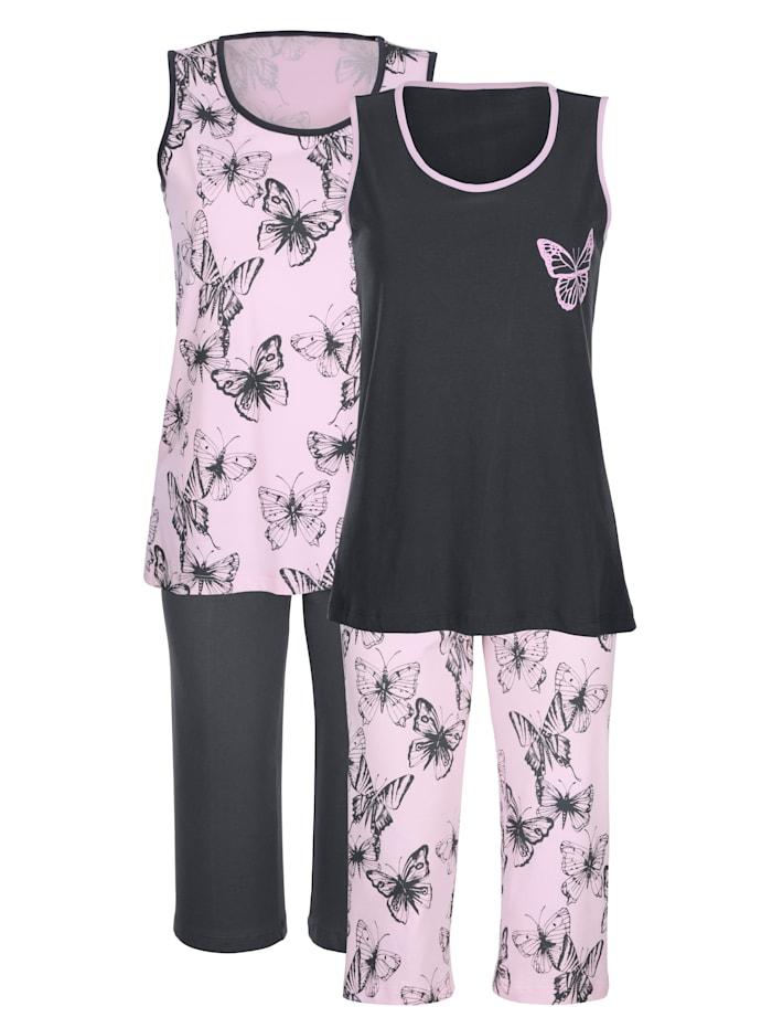 Blue Moon Sommarpyjamas i 2-pack med fjärilsmönster, Ljusrosa/Plommonlila