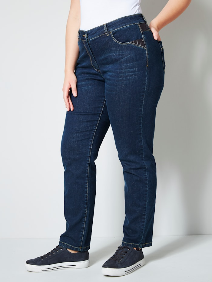 Janet & Joyce Jeans met imitatieleer, Dark blue