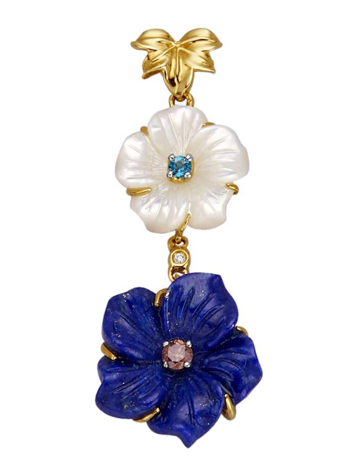 Amara Farbstein Blüten-Anhänger, Blau
