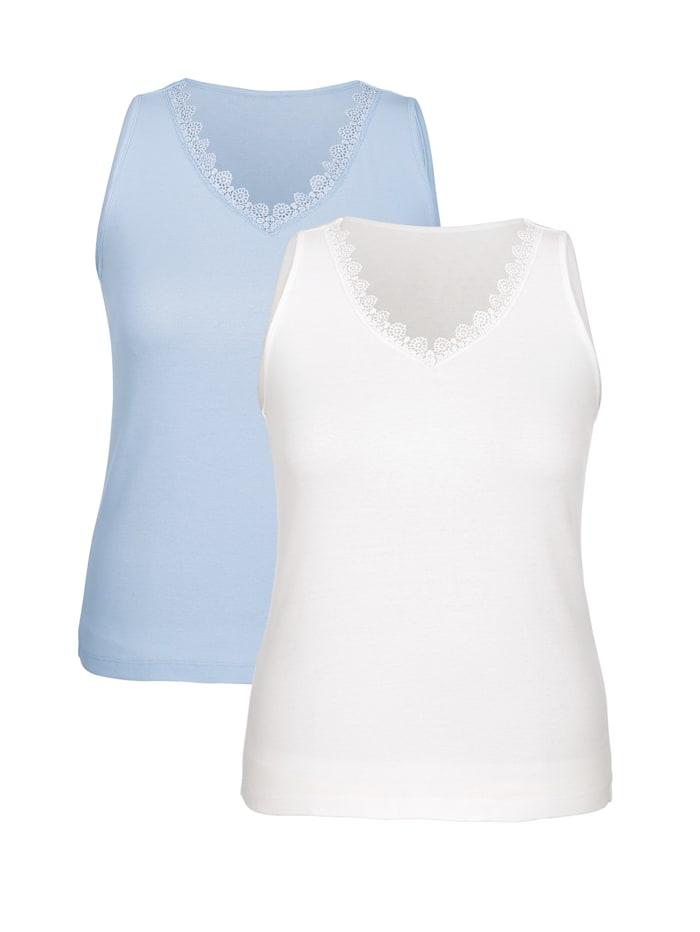 Harmony Achselhemden mit Spitze am Ausschnitt, Hellblau/Weiß