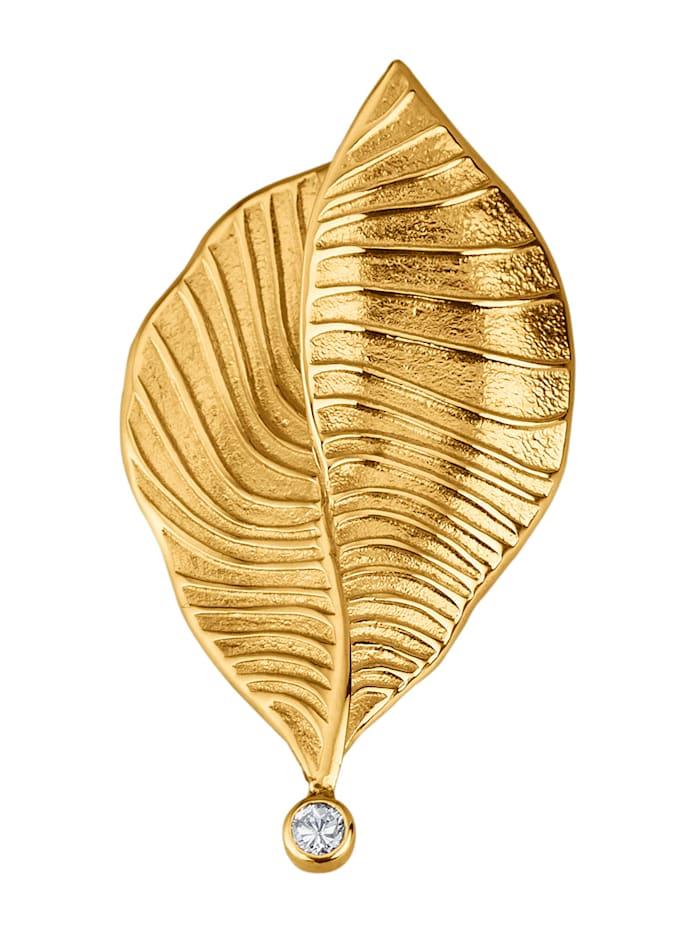 Diemer Diamant Hänge i form av ett löv med diamant, Guldfärgad