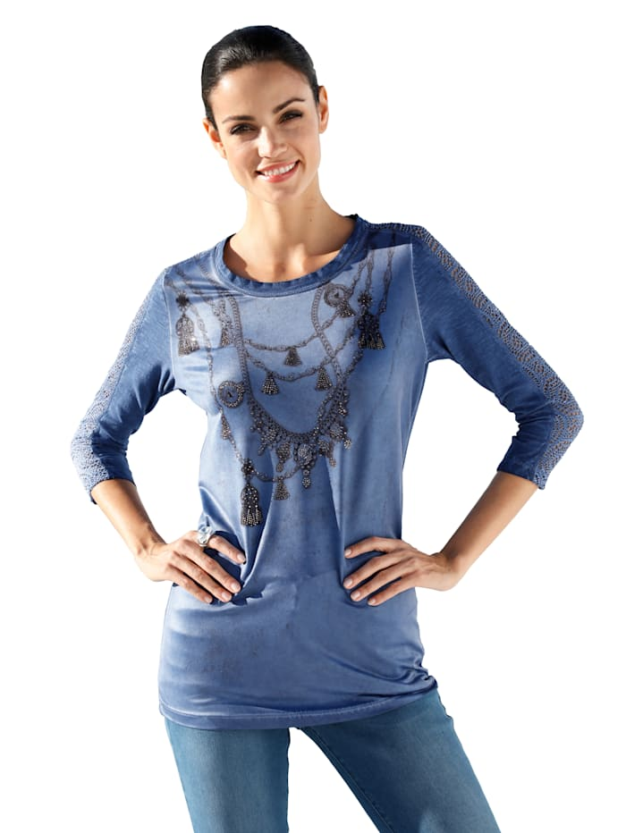 AMY VERMONT Shirt mit platziertem Druck und Strasssteinen im Vorderteil, Blau