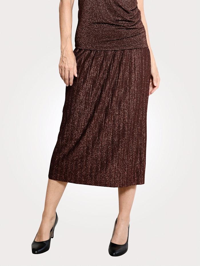 MONA Jupe plissée avec fil métallisé, Coloris cuivré