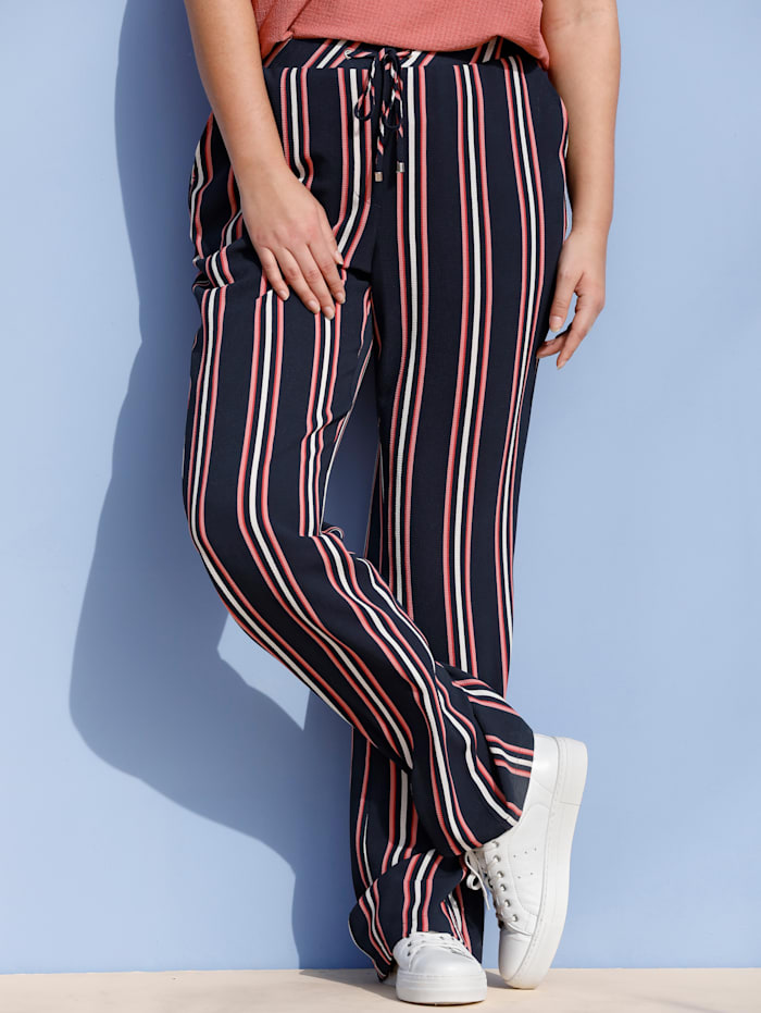 MIAMODA Pantalon à rayures verticales, Marine/Saumon/Blanc