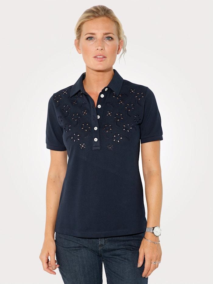 MONA Poloshirt aus reiner Baumwolle, Marineblau