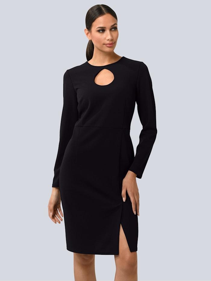 Alba Moda Šaty s rázporkom, Čierna