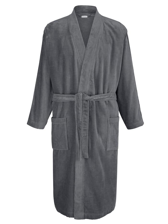 Badjas met sierband, grijs