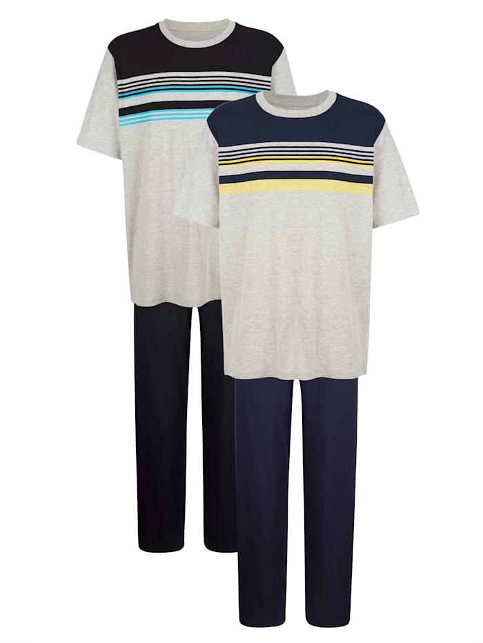 G Gregory Pyjama's per 2 stuks, Marine/Zwart
