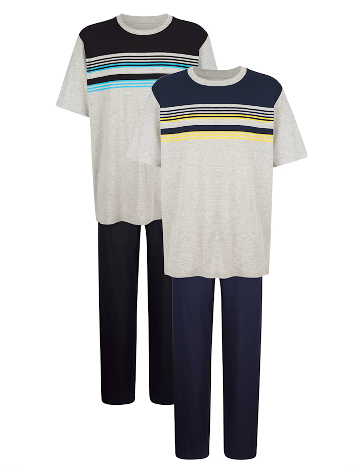 Pyjama's per 2 stuks, Marine/Zwart