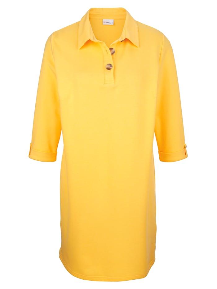 MIAMODA Sweat-shirt long avec boutons décoratifs sur les côtés à la base, Jaune