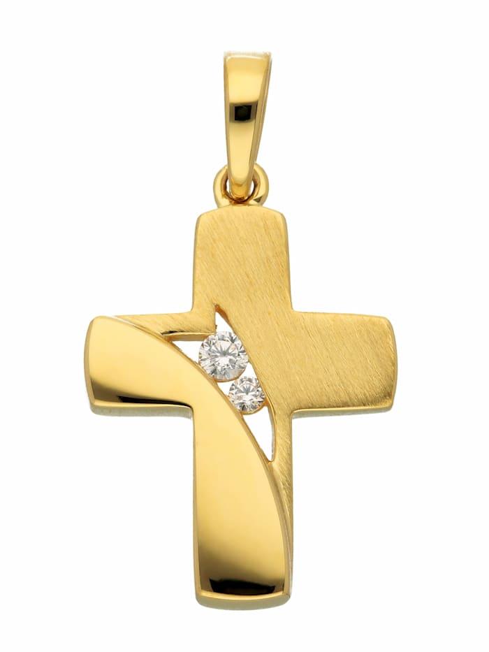 1001 Diamonds 1001 Diamonds Damen & Herren Goldschmuck 333 Gold Kreuz Anhänger mit Zirkonia, gold