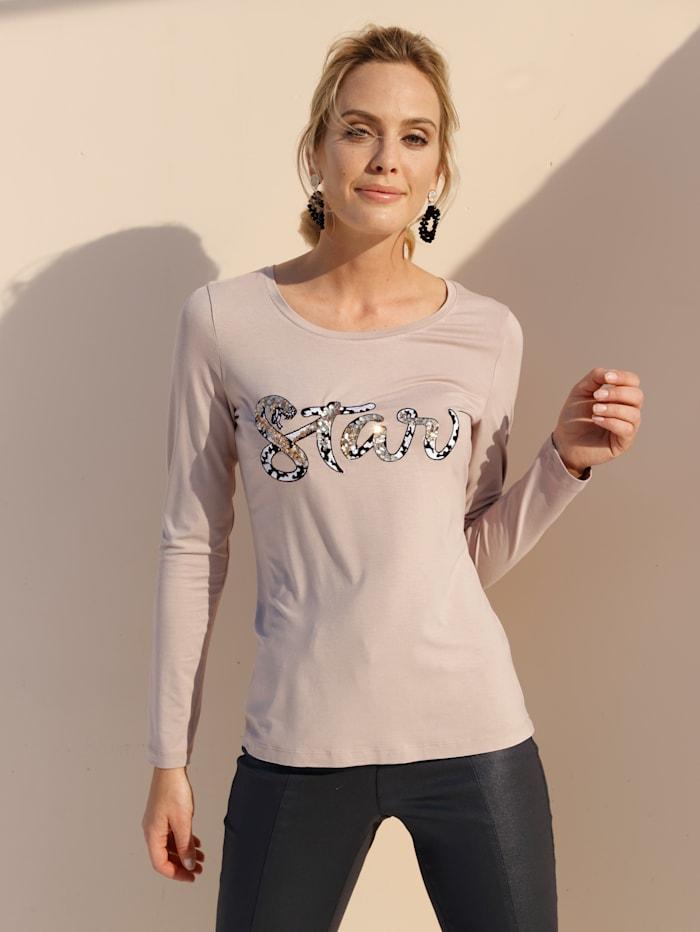 AMY VERMONT Shirt mit Pailletten, Beige