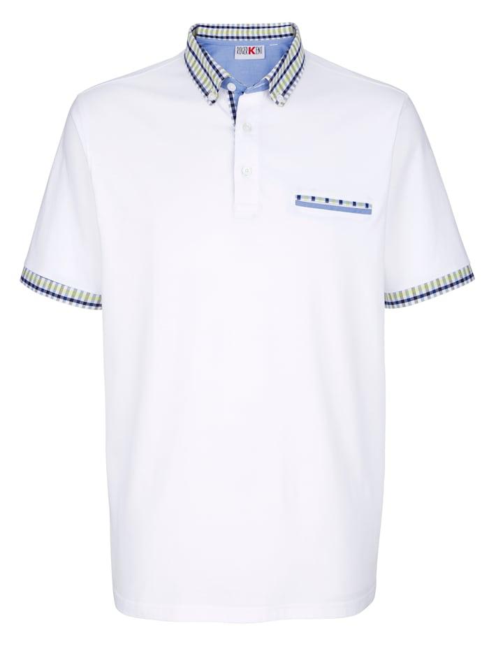 Roger Kent Poloshirt mit Kontrastverarbeitung, Weiß
