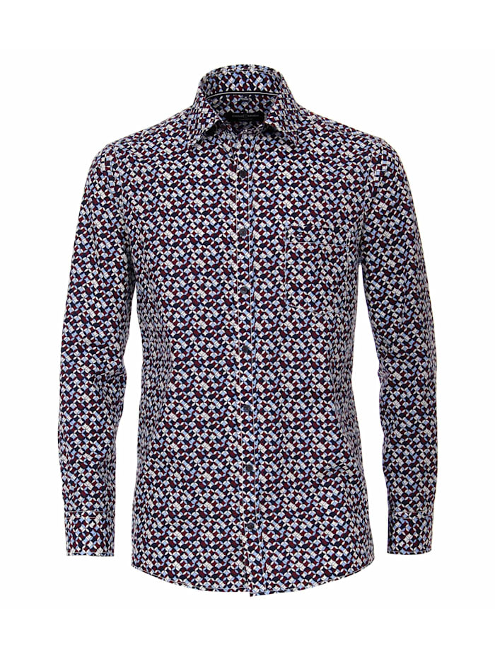 CASAMODA Hemd Print Comfort Fit, Dunkelrot