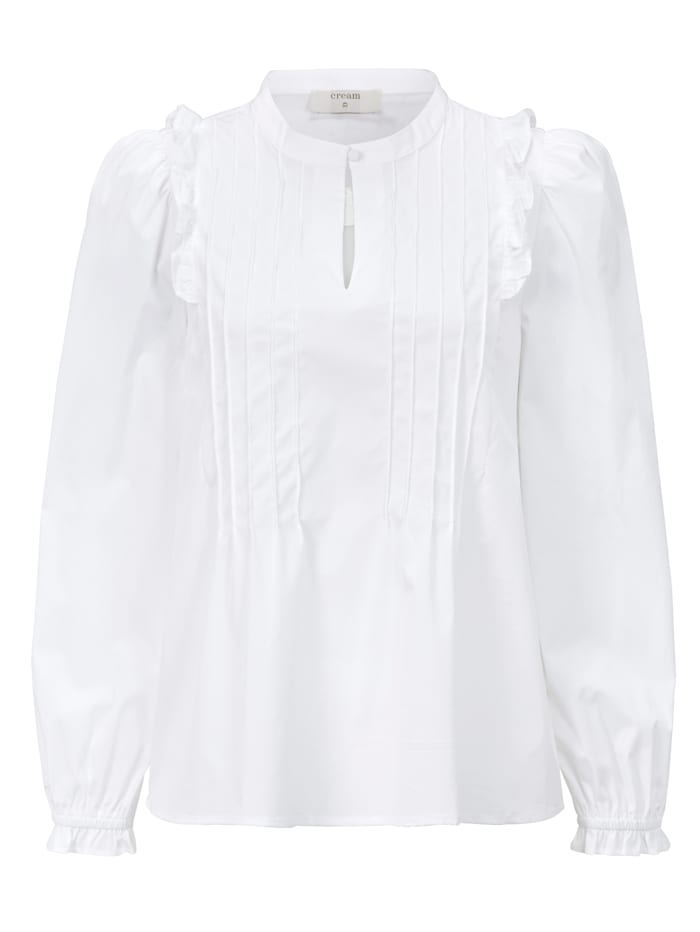 Cream Rüschenbluse, Weiß