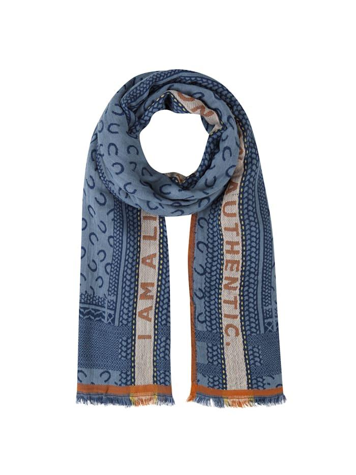 Codello Logo-Schal aus Viskose und Wolle, jeans blue