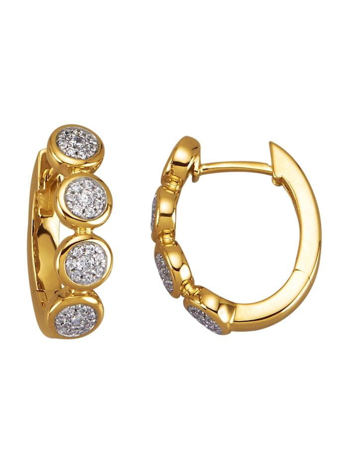 Amara Diamants Créoles en or jaune 585, Blanc