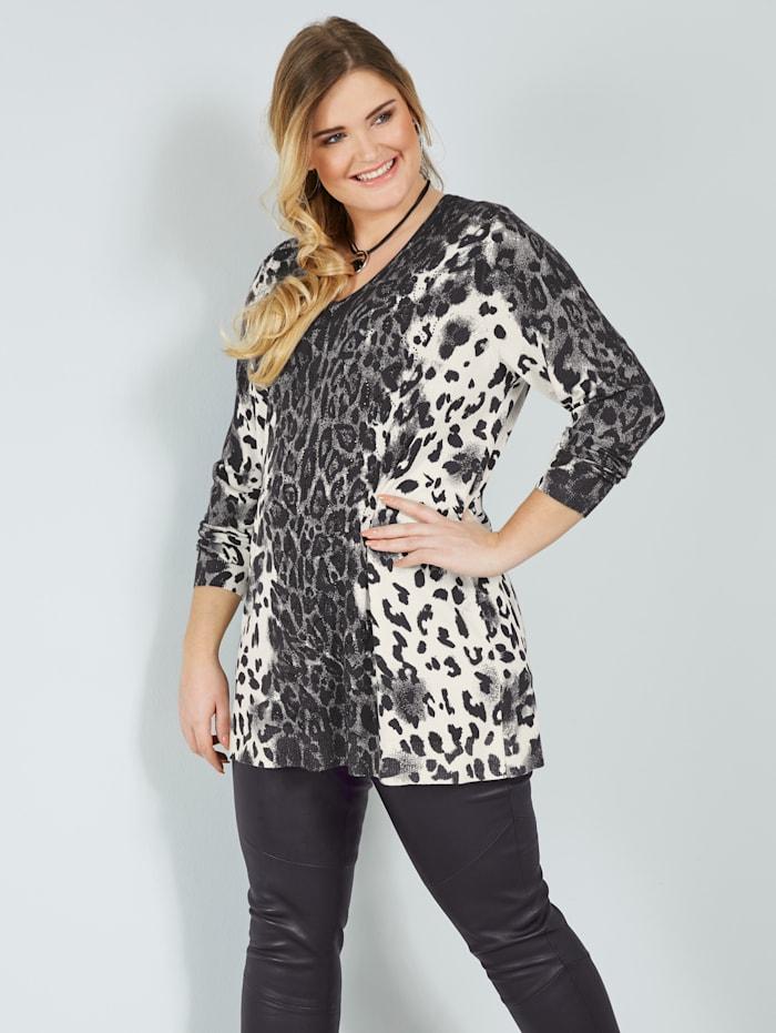 Sara Lindholm Lång tröja med leopardmönster, Grå/Offwhite/Svart