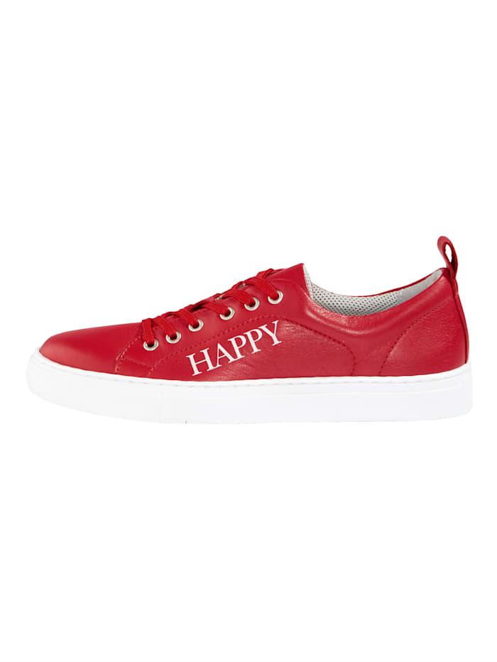 Sneaker met modieus HAPPY-opschrift
