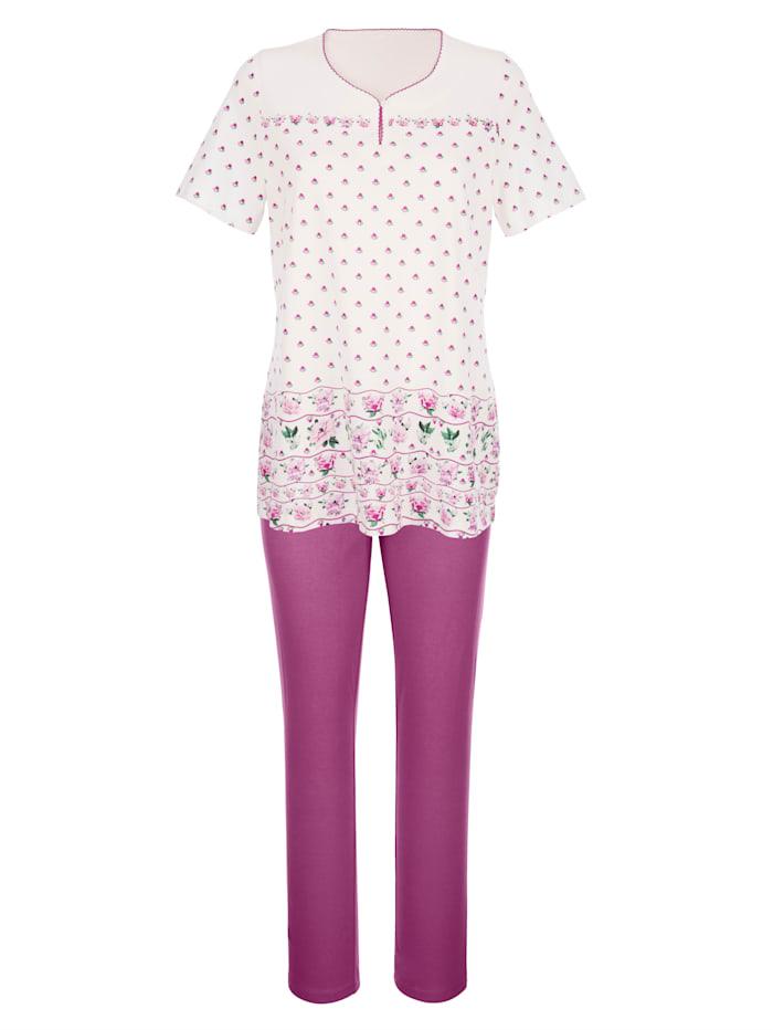 Pyžama 3 diely s kvetinovou bordúrovou potlačou