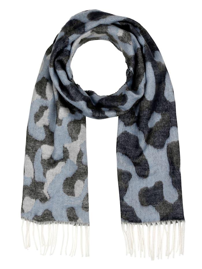 m. collection Sjaal met modieuze franjes, Blauw