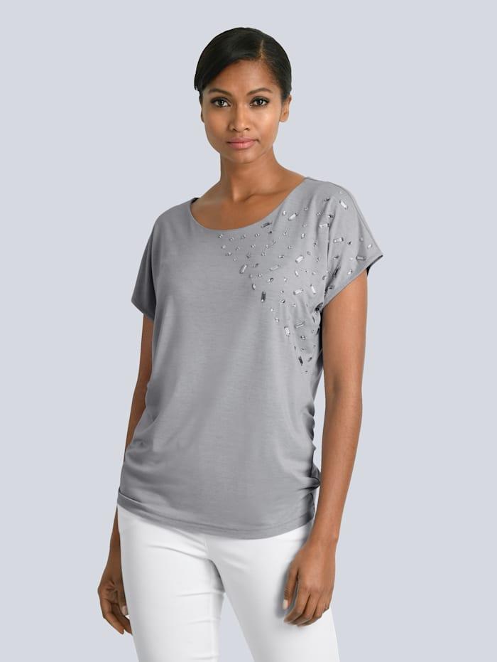 Alba Moda Shirt mit dekorativen Schmucksteinen im Vorderteil, Grau
