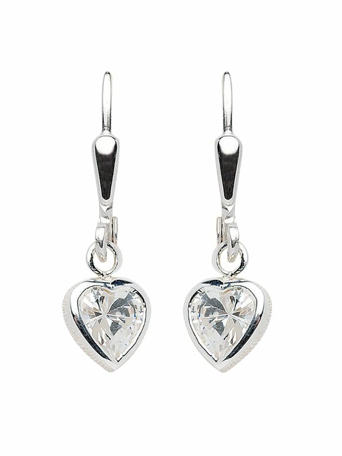 1001 Diamonds 1001 Diamonds Damen Silberschmuck 925 Silber Ohrringe / Ohrhänger Herz mit Zirkonia, silber