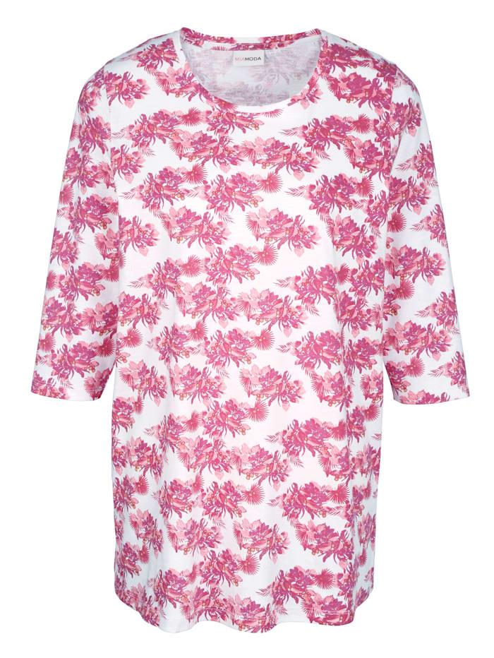 MIAMODA T-shirt à imprimé floral, Blanc/Rose vif