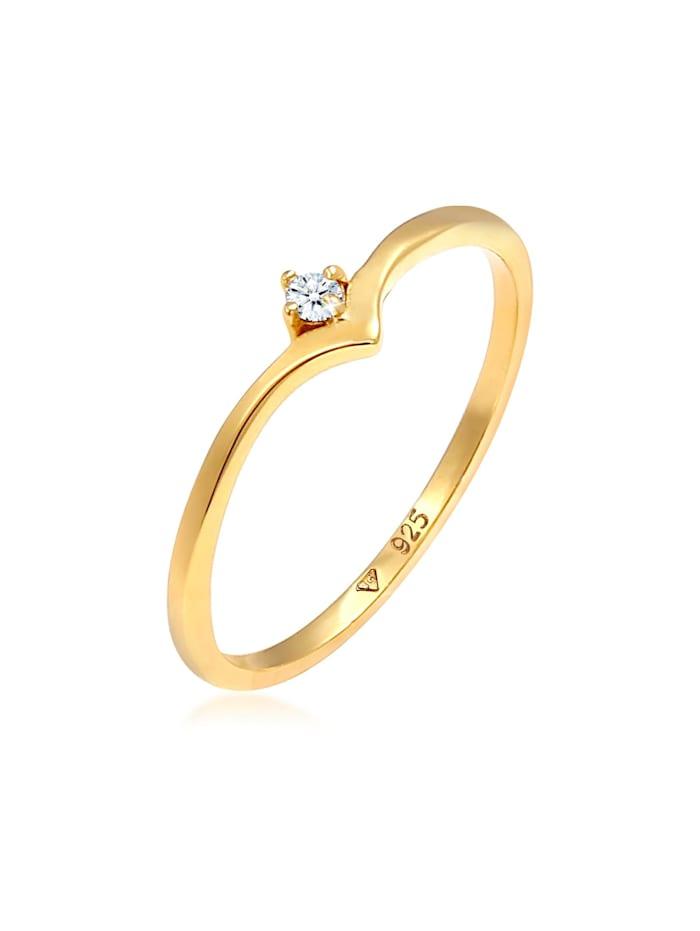 DIAMORE Ring Solitär Diamant (0.03 Ct.) V-Form 925 Silber, Gold