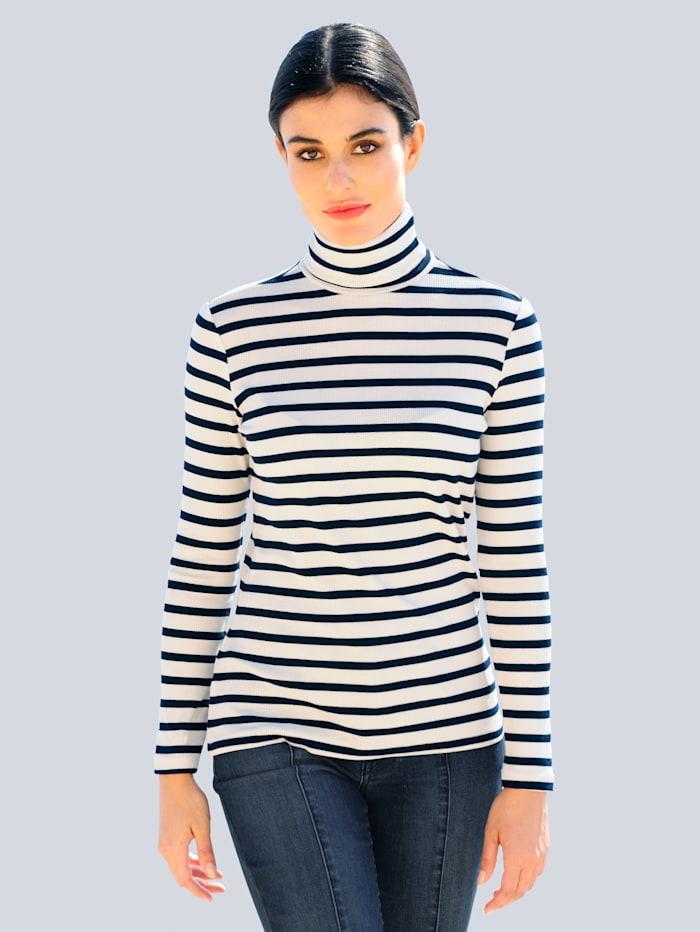 Alba Moda Rollkragenshirt in elastischer Jerseyware, Off-white/Marineblau
