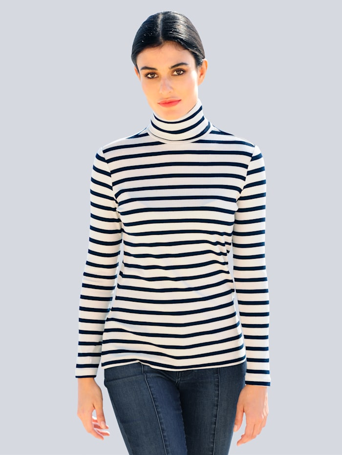 Alba Moda Rollkragenshirt in trageangenehmer elastischer Jerseyqualität, Off-white/Marineblau