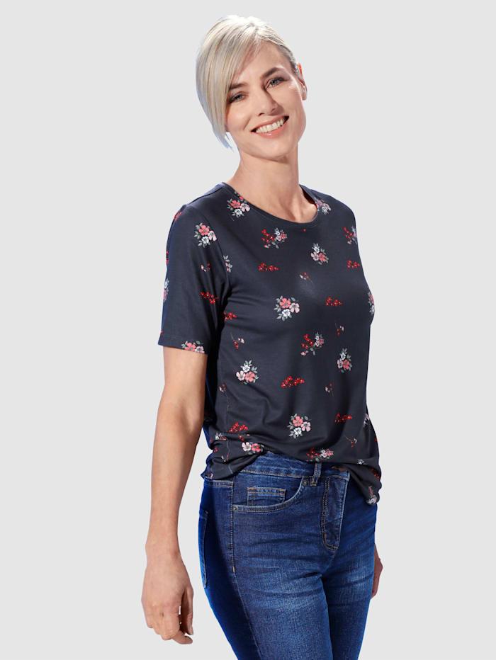 Paola Shirt Mit modischem floralem Druck, Marineblau