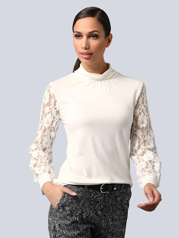 Alba Moda Shirt mit Ärmeln aus Spitze, Off-white