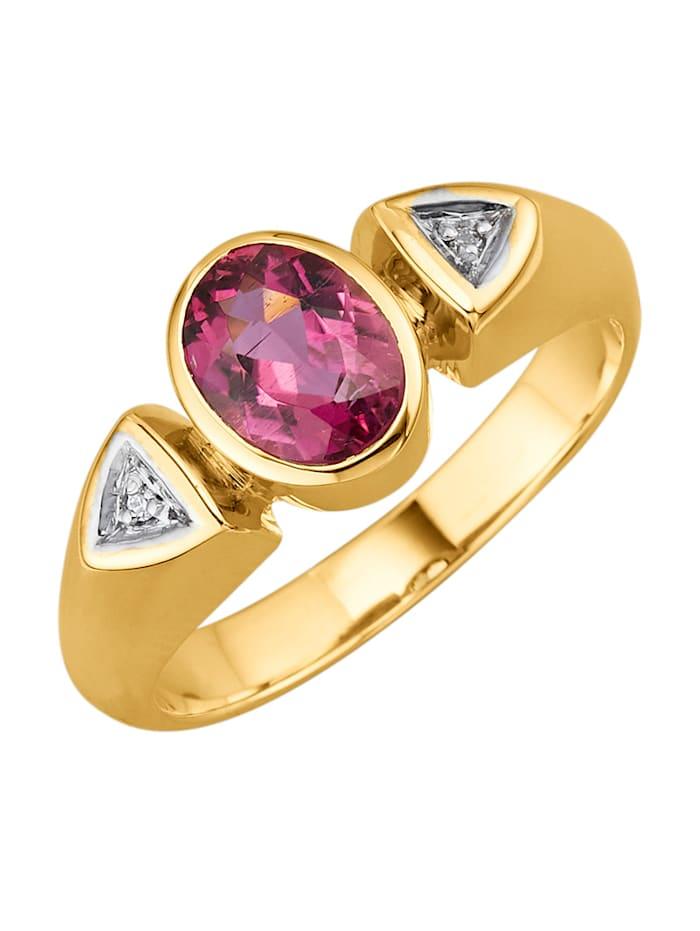 Amara Pierres colorées Bague avec tourmaline rose vif, Rose vif