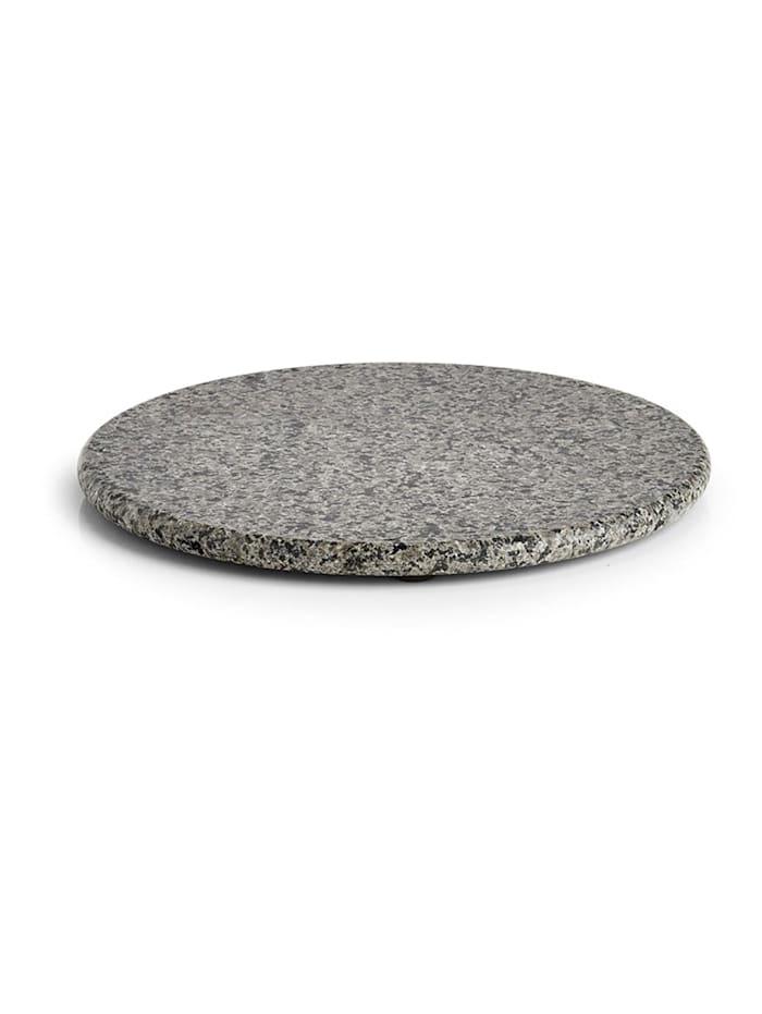 Neuetischkultur Servierplatte rund Granit, Grau