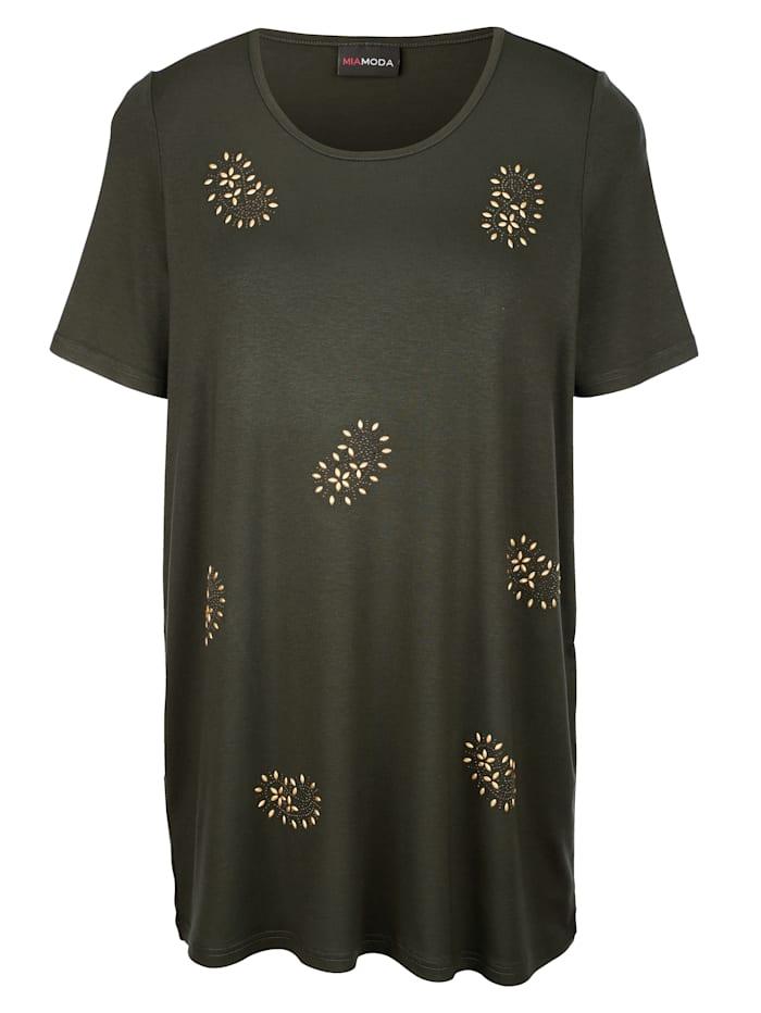 T-shirt long avec pierres fantaisie incrustées sur l'empiècement motif cachemire