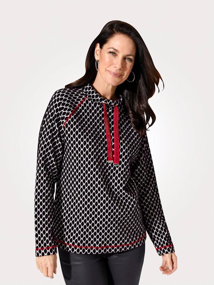 MONA Sweatshirt in Jacquard-Qualität, Schwarz/Ecru/Rot