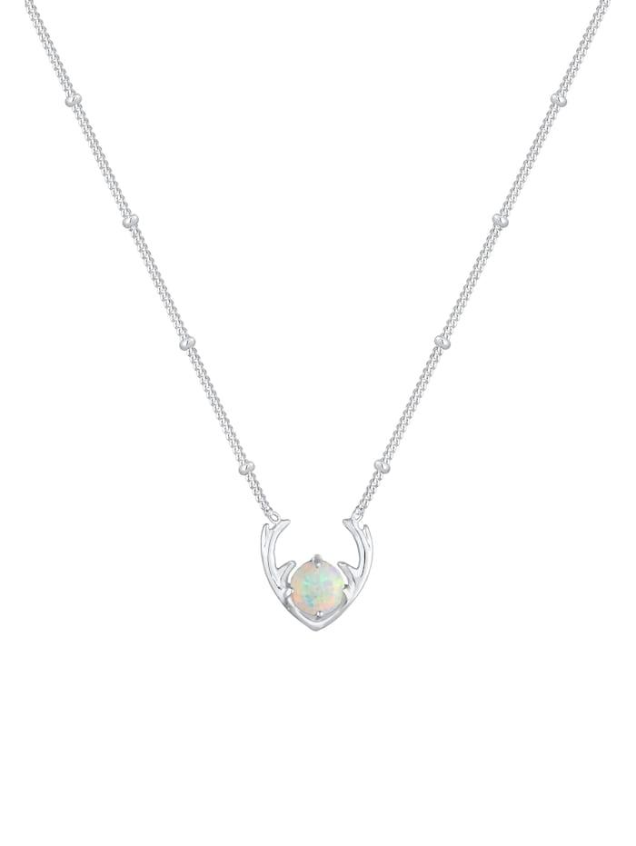 Halskette Synthetischer Opal Rentier Geweih 925 Silber