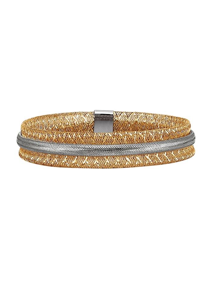 Mesh-Armband In Gelbgold 375, Weißgoldfarben