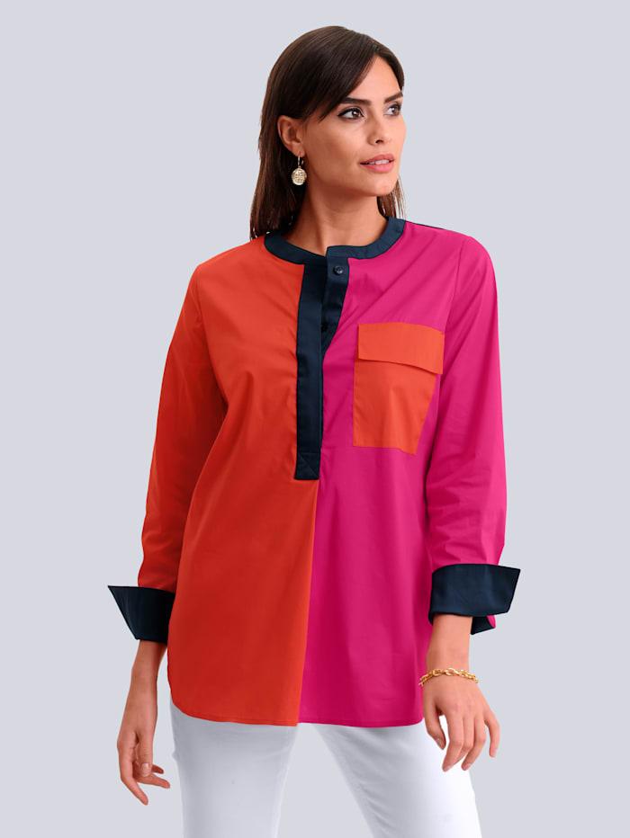 Alba Moda Bluse in modischem Colourblocking, Pink/Orange/Marineblau